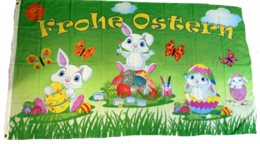 Flagge Fahne Frohe Ostern Osterhasen 90x150 cm F3096