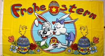 Flagge Fahne Frohe Ostern Osterhasen 90x150 cm